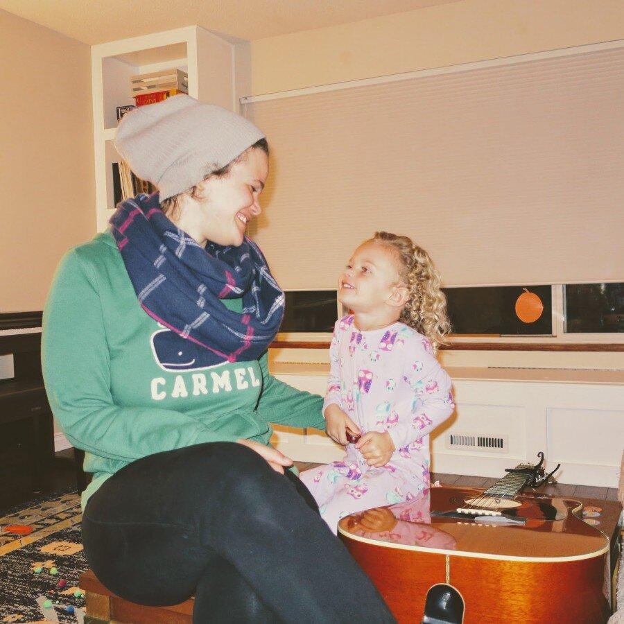 having a little family jam session before bed