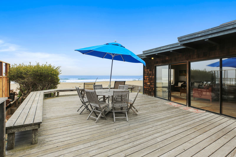 The deck is where you'll spend most of your time, so it's the dominant feature of the home.