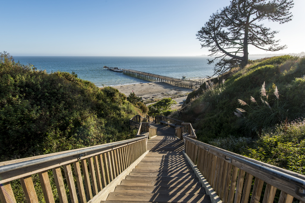 Stairs lead down to the beach and wharf. Great for an early morning workout…