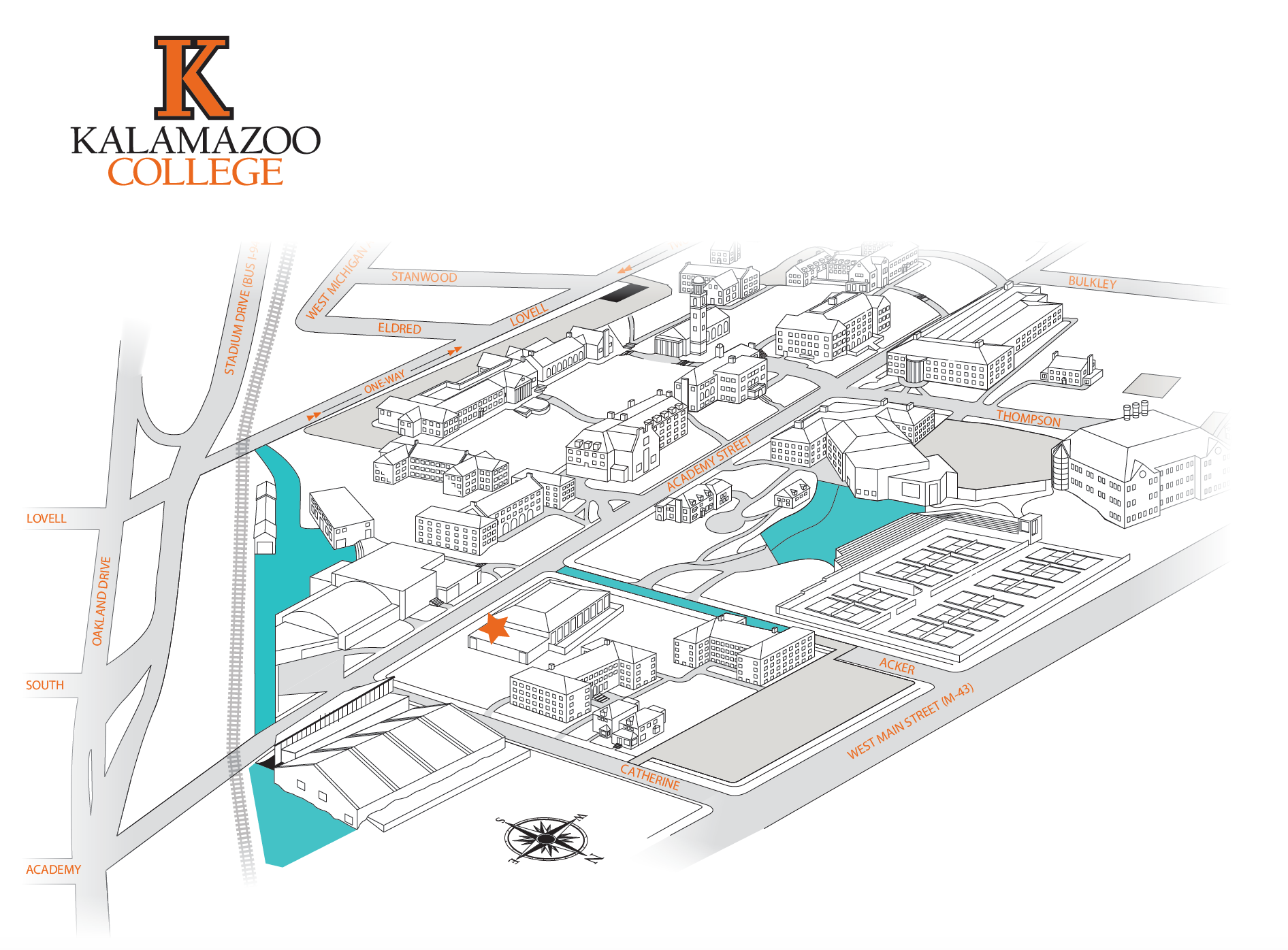 There is no street parking available during the 5:00am practices at Kalamazoo College. We have permission to park in the lots indicated in teal. See you at the pool!