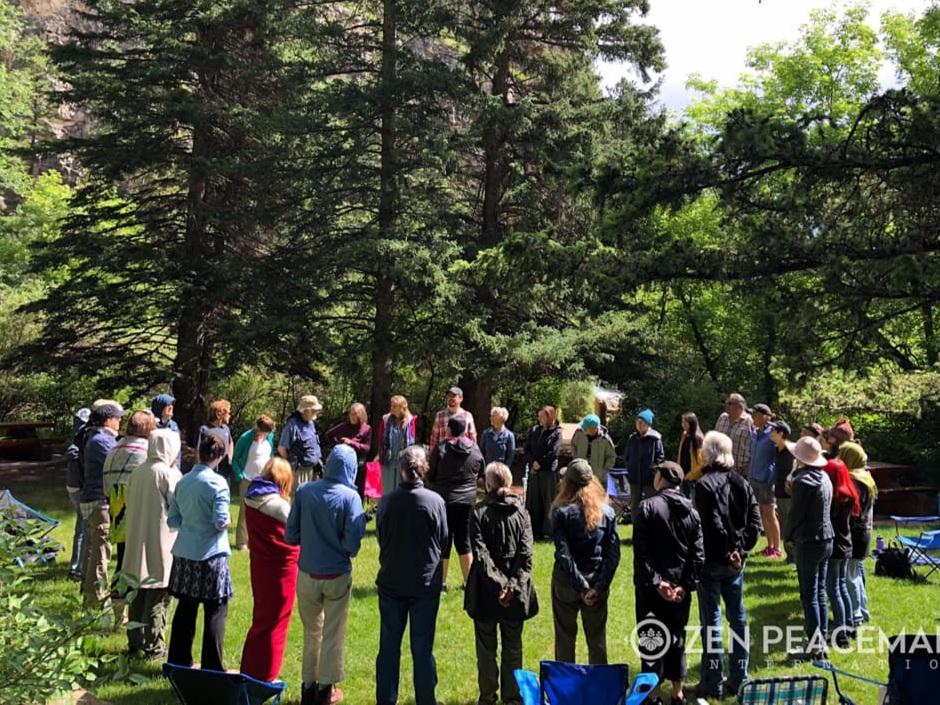 Zen Peacemaker retreatants & Lakota host families at sacred waterfall near Spearfish, South Dakota
