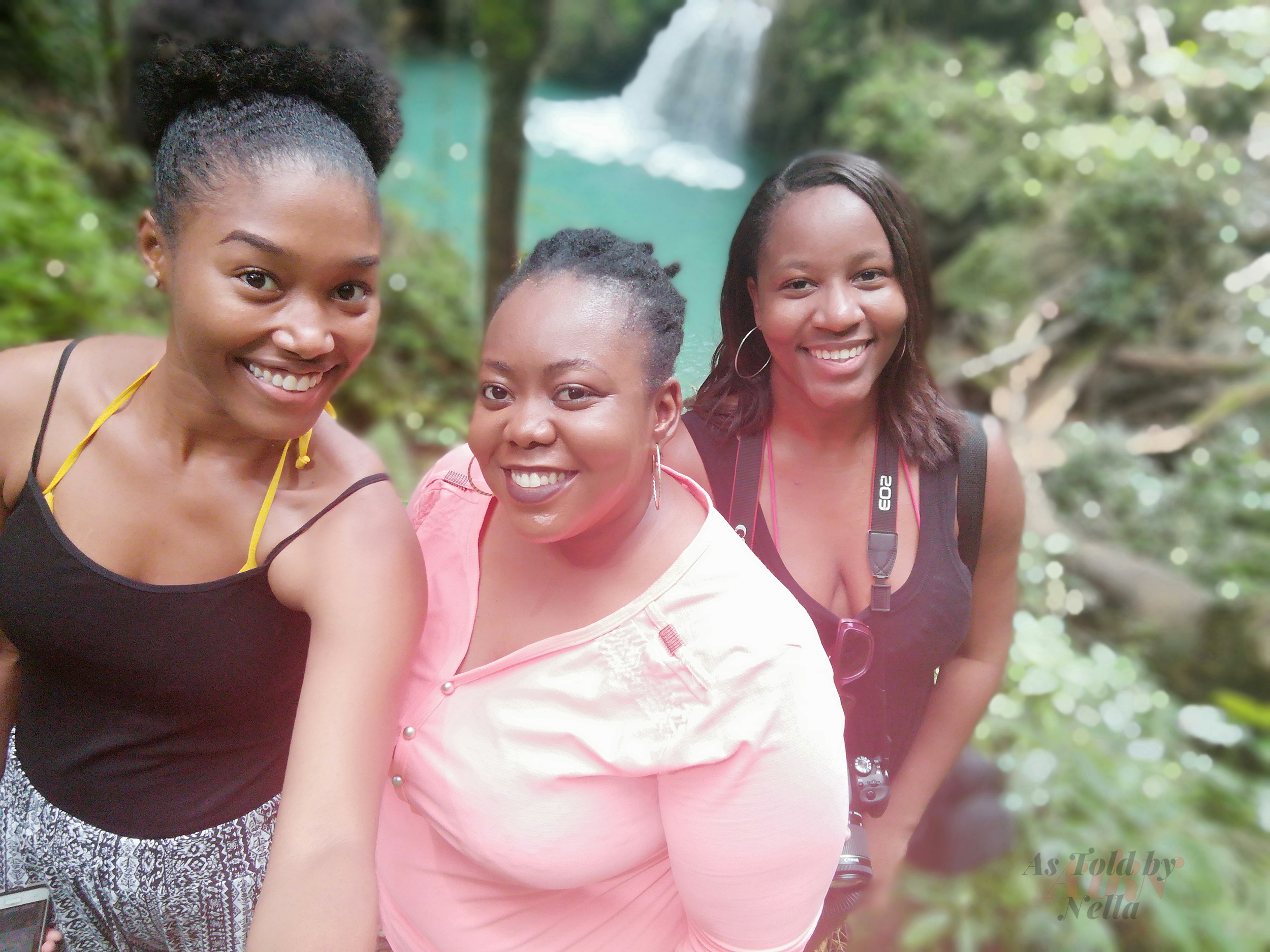 My blogger companions for the day, Rochelle (left) and Jhunelle (right) at Breadnut Valley Falls