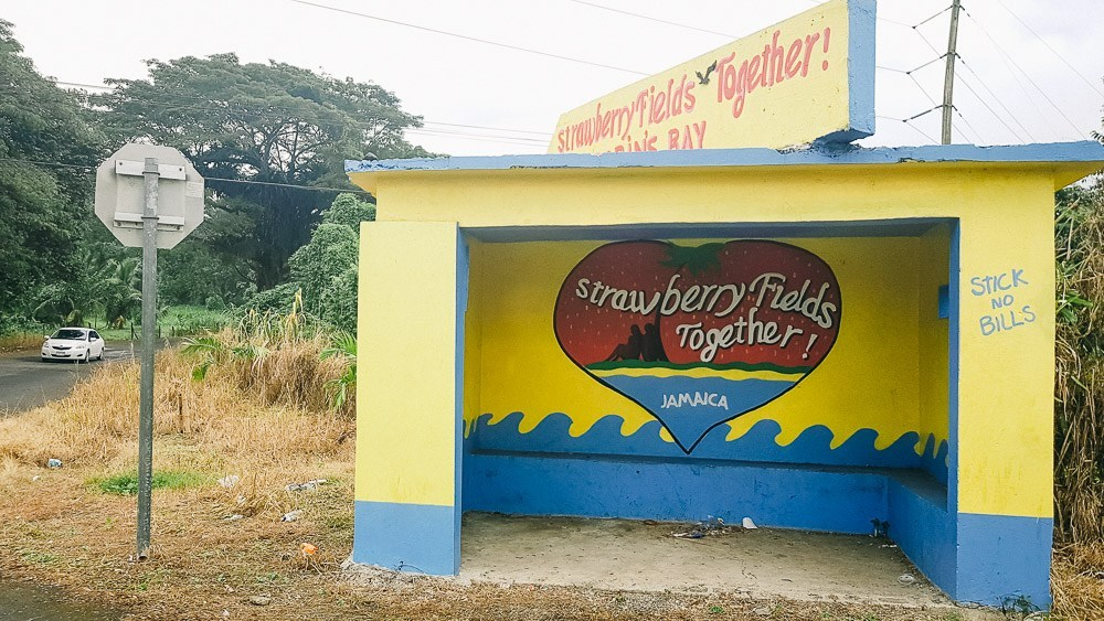 Strawberry Fields Together bus stop