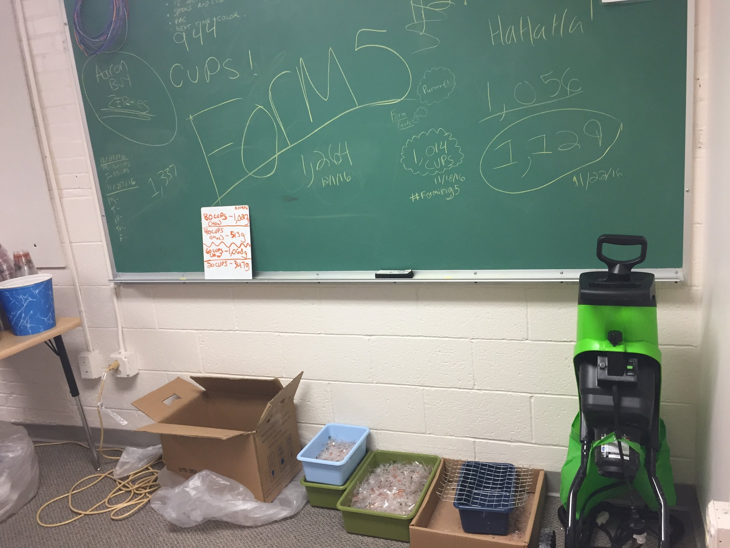 Our Lab at NAPLS-  Form5's  initial recycling process