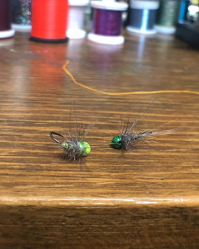 CDC/Squirrel's hair nymphs with matching beads and ribs. 🔥 • • • #confidenceflies #flyfishing #tuberiver  #tailwater #barbless #euronymphing #browntrout #rainbowtrout