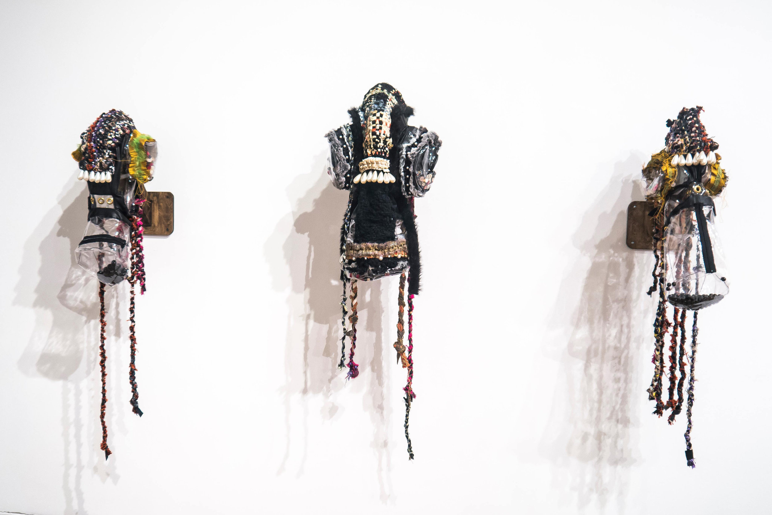 """PIPORNOT's Masks , Mixed media, Dimensions variable (one in the middle:20""""x8""""x6"""") , 2017-18   A part of the installation """"PIPORNOT's Superorganism."""""""