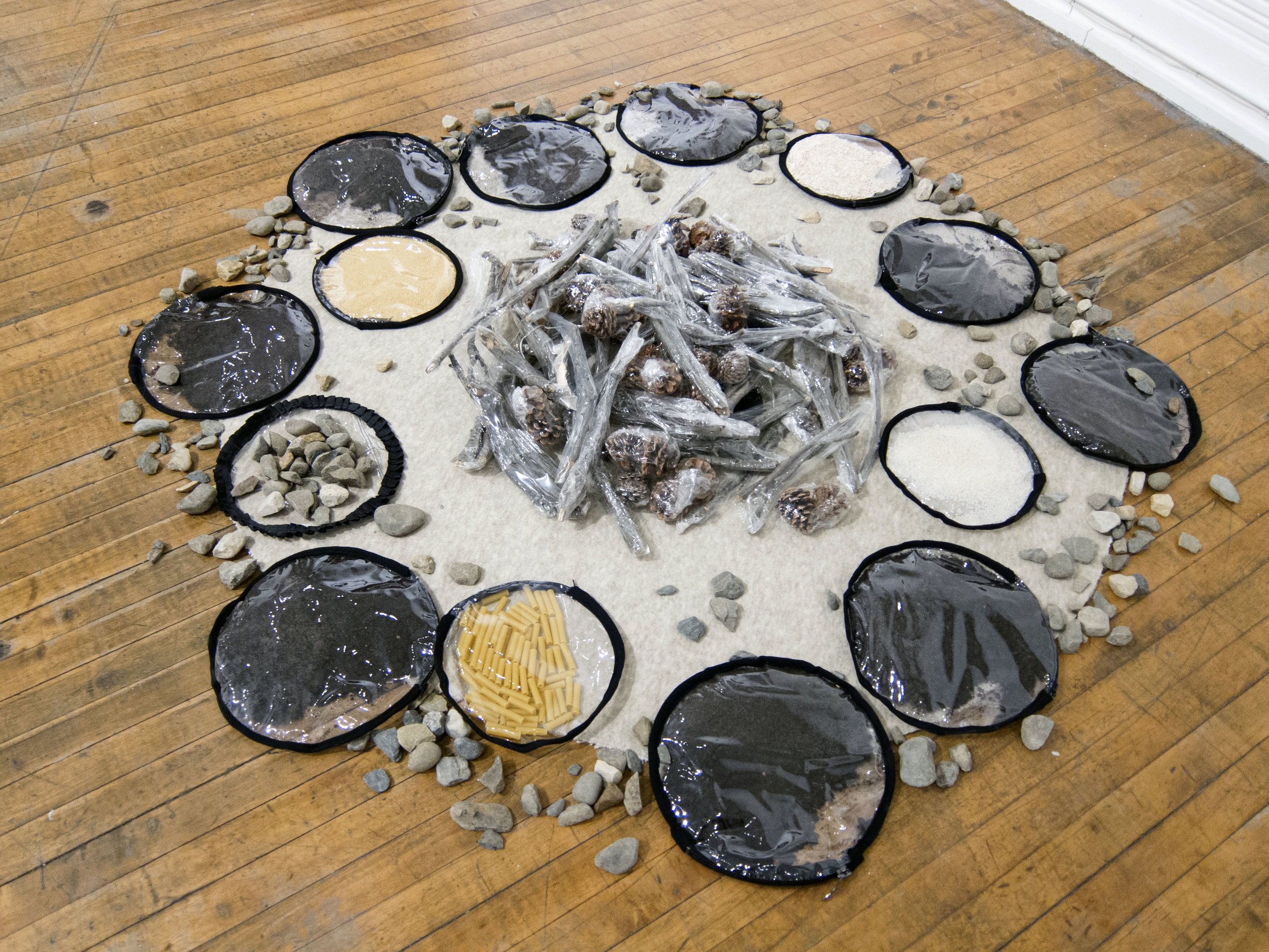 """Foraging Station , Mixed media installation, Approx. 30"""" diameter, 2018  A part of the installation """"PIPORNOT's Superorganism."""""""