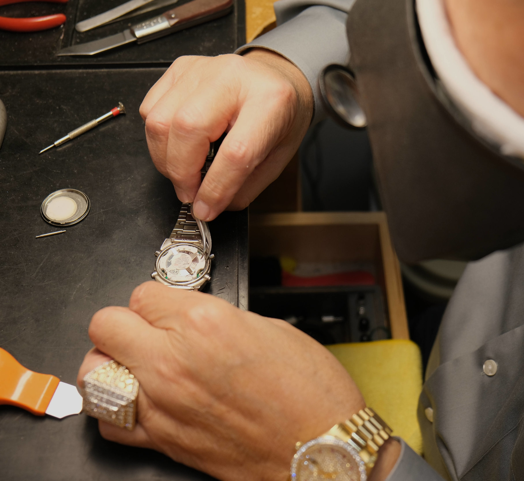 Watch repair - service - batteries - sizing - customizing - There's always someone available for a quick adjustment of your wristband or change of battery. We also have a full watchsmith on premises daily. *customizing includes Bezels, Gold or Silver bracelet custom made, Diamonds added and more