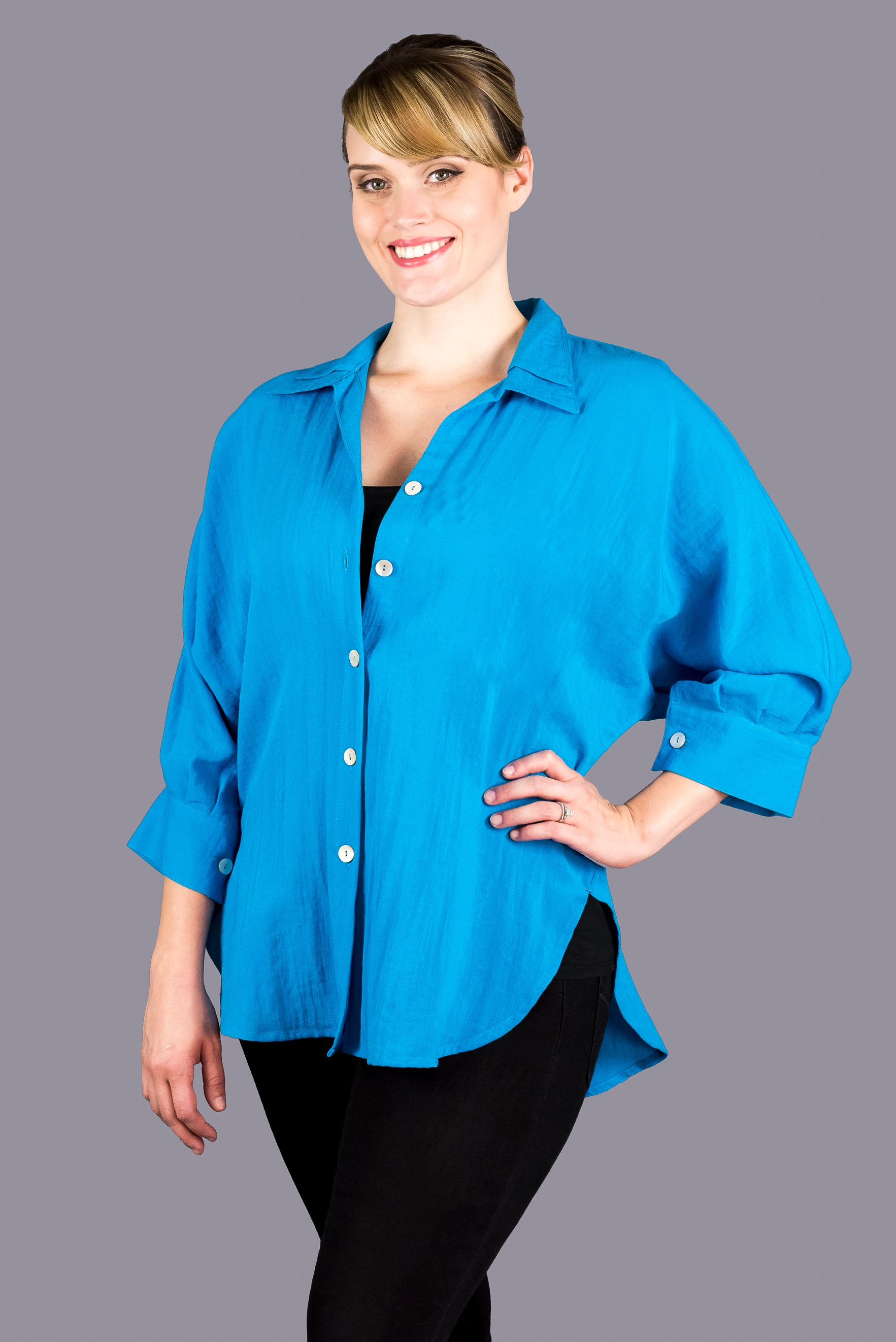 AA160 - Boyfriend Shirt w/ Double Flip Collar w/o Pocket
