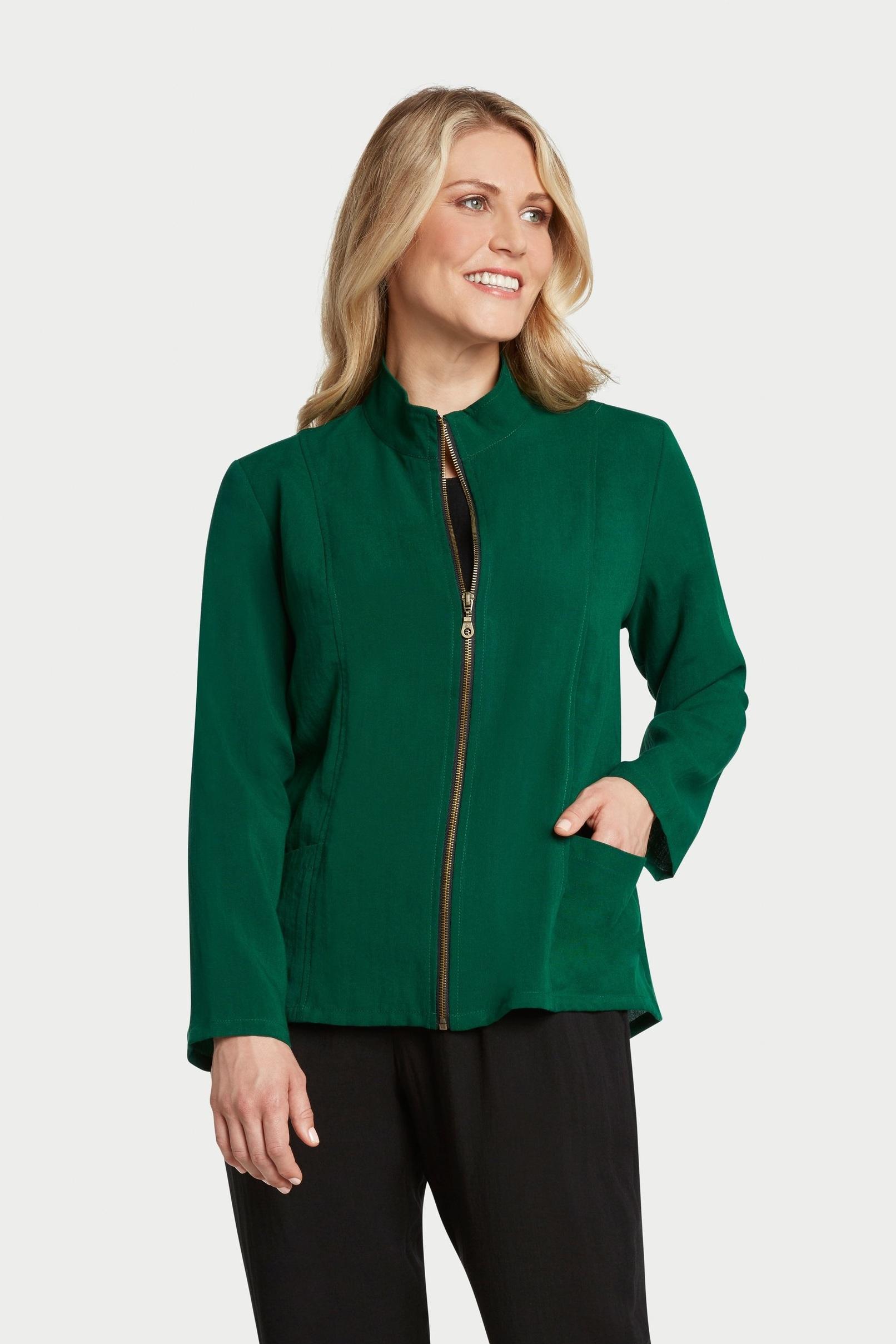 AA237 - Ruched Zip Jacket