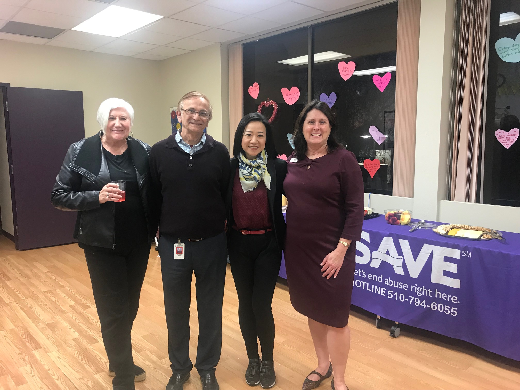 SAVE Supporter Appreciation Open House 2019: (L-R) Board Member, Sybil, Finance Director, Jayant, Fridaze Owner, Joyce Tang, and Program Director, Paula.