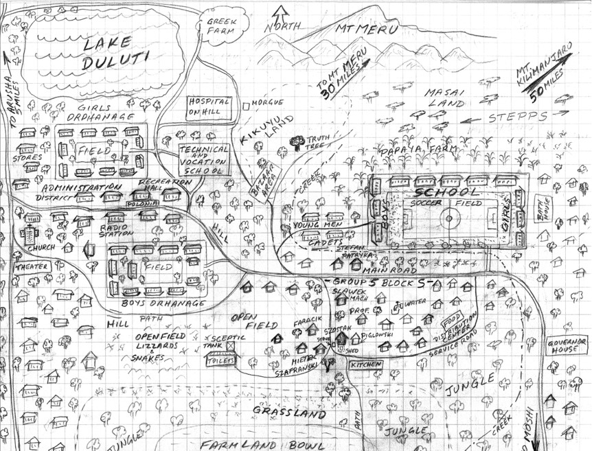 Mappa del campo di Tengeru disegnata da Henryk Szostak.