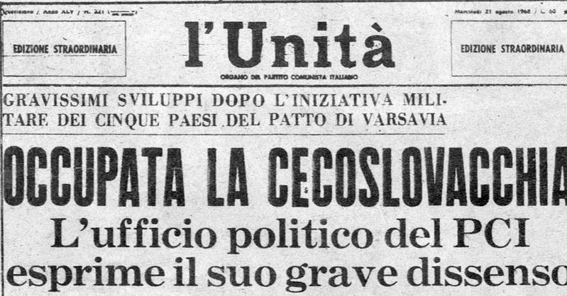 La prima pagina dell'edizione straordinaria de L'Unità del 21 agosto 1968, in cui si condannò senza esitazioni l'invasione della Cecoslovacchia da parte dell'Urss e delle truppe del Patto di Varsavia.