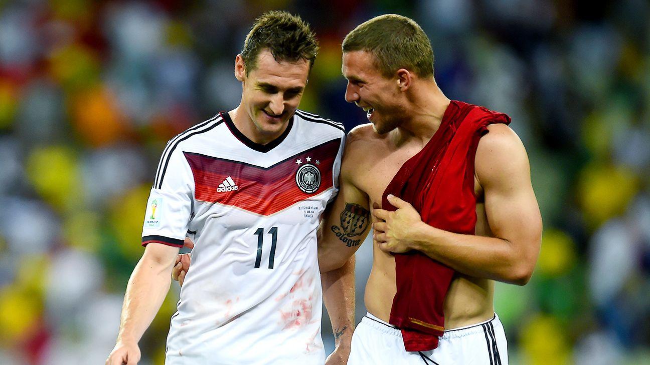 Lukas Podolski e Miroslav Klose con la maglia della nazionale tedesca (Foto Espn).