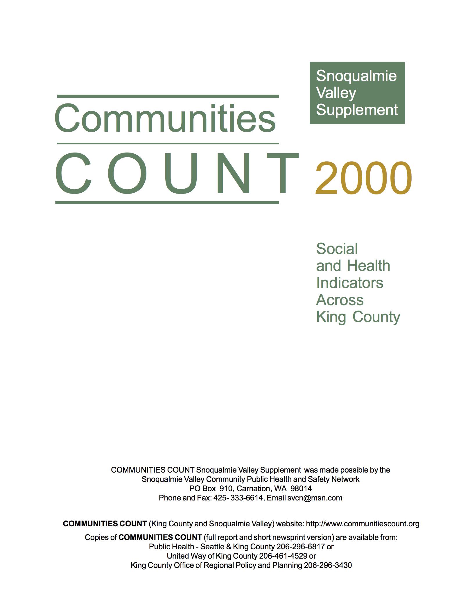 2000: Snoqualmie Valley supplement -