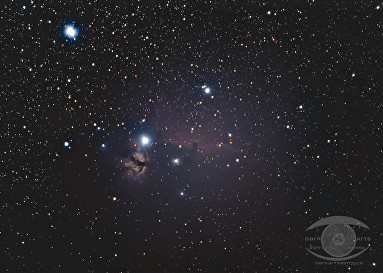 Flame and Horsehead Nebulae. Nikon D750, Nikon 55-300 DX, f/5.6 21 x 2 min exposures @ ISO 1600