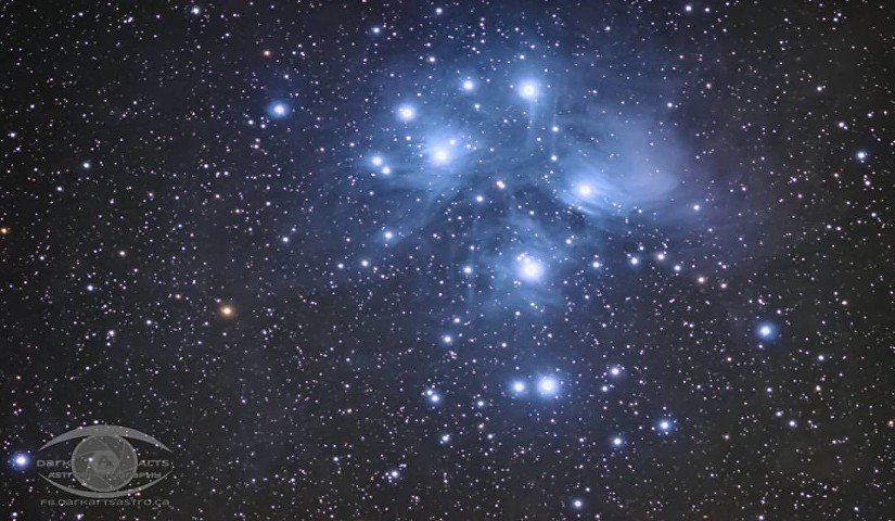 M45 – The Pleiades Cluster. 1 hour of exposure time with a Nikon D5100