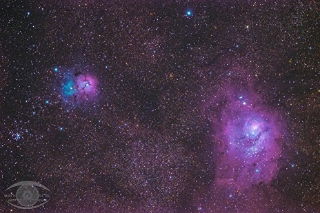 The Lagoon and Trifid Nebulae.  100 minutes of exposure time with a Nikon D5100