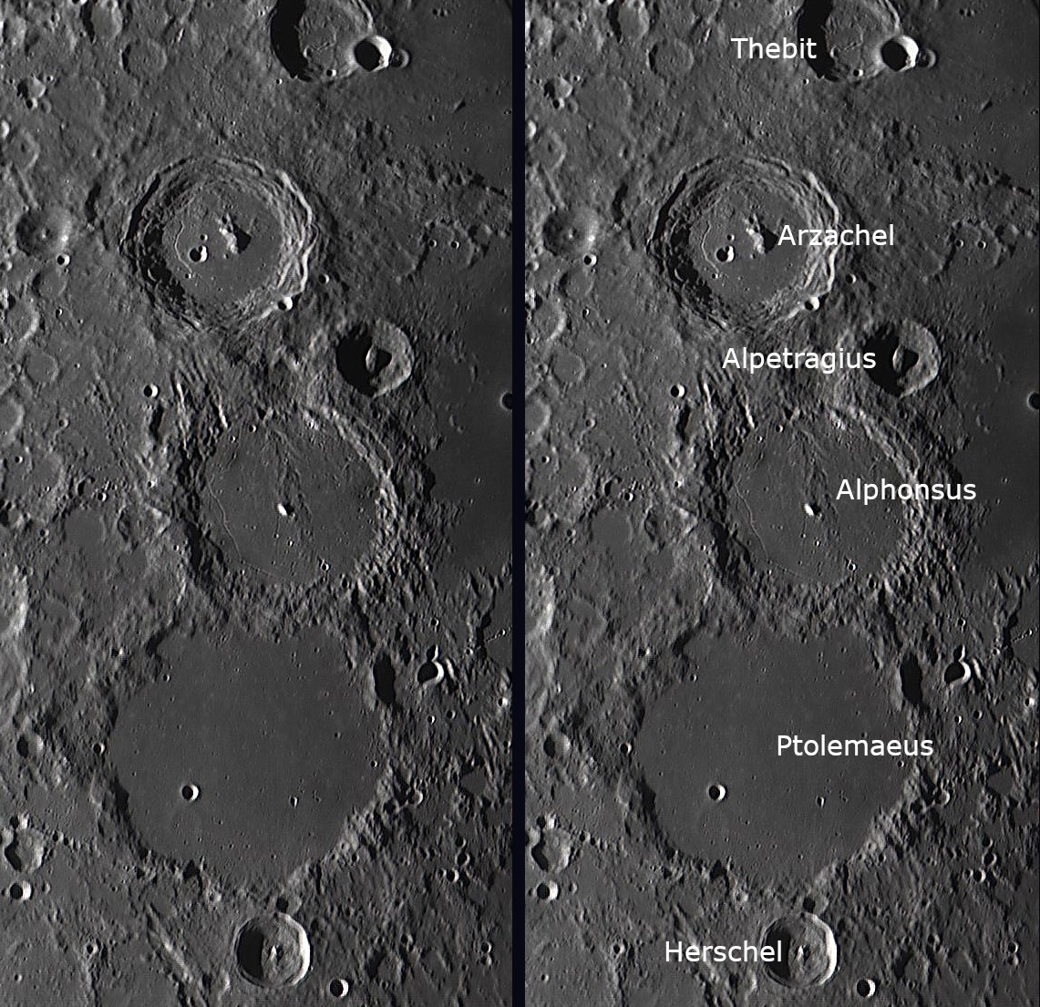Lunar Crater Chain - Ptolemaeus, Alphonsus & Arzachel 2018-03-25 19.24 UT    Image by     Hugh Bellamy    Aberkenfig, South Wales  Lat 51.542164 Long -3.5934252  Skywatcher 254mm Newtonian Reflector, Tal 2x Barlow Lens, ZWO ASI 120MC Imager. Captured using Firecapture  A 3 pane mosaic of this well known lunar crater group.  Each pane processed with Registax 6 & G.I.M.P. Then stitched using Microsoft Image Composite Editor.  Another page from my observations log book. Best viewed in expanded mode.
