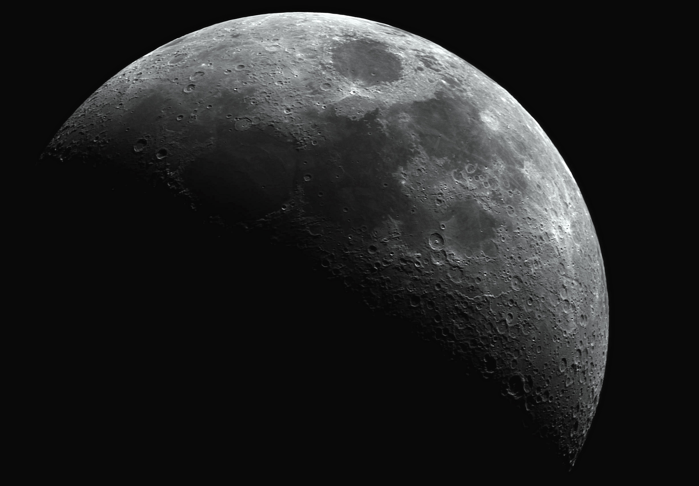 Moon..    Image by     bryan hasler    Taken with a 80Ed scope, AVX mount, zwo 178 mono.  700 frames best 80 stacked.