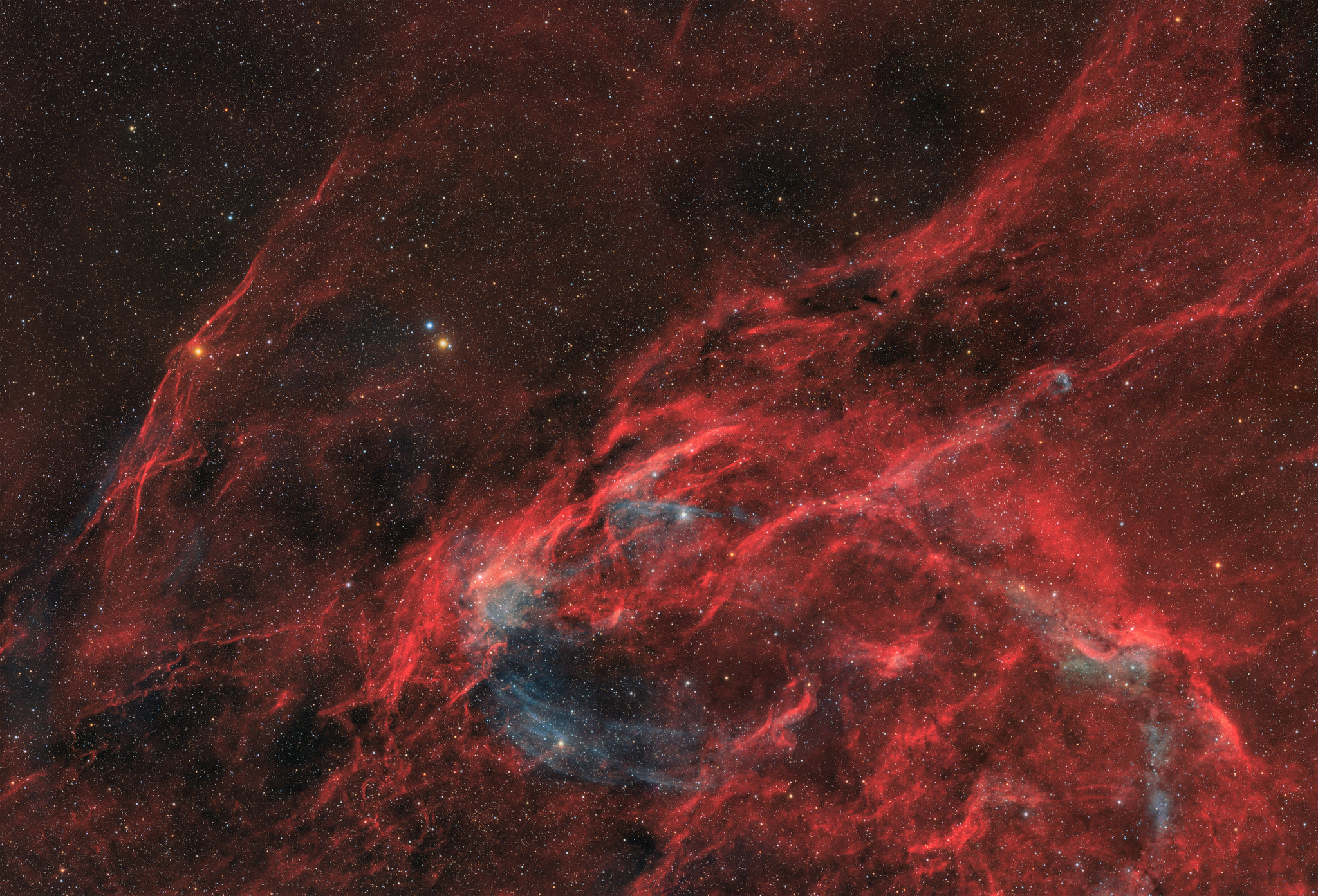 Northwestern Cygnus, 8 panel mosaic (HaOIIIRGB)   Image by   Nico Carver   This region of Cygnus west of Deneb is anchored by the bright and colorful stars 30 and 31 Cygni. There are many types of interesting and overlapping nebulae in this region including many HII regions catalogued by Dickel, Wendker, and Bieritz, as well as more recent discoveries such as the giant supernova remnant known as G 82.2+5.3 and the much smaller possible planetary nebula PN PM 1-320. This was my most challenging photo yet with more than 46 hours of integration, and the time-consuming process of creating a seamless 8 panel mosaic.