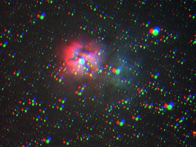 Trifid Nebula image before alignment. Notice the red, green, and blue images do not line up properly.