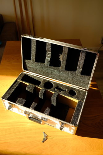 An interior of the case. There is space for some additional accessories (filters, cables, etc.).