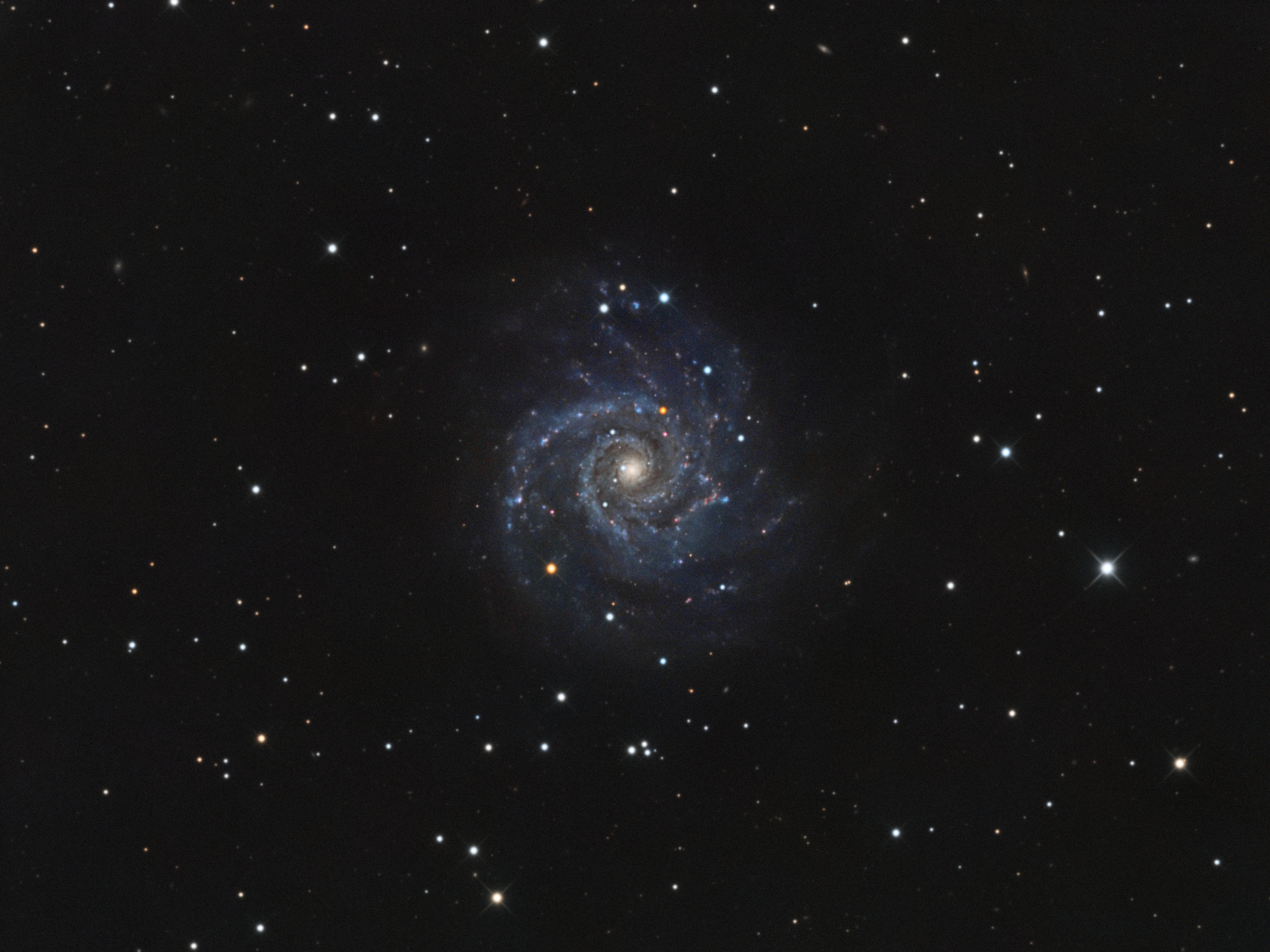 M74 - Phantom Galaxy   Also known as NGC628, M74 is a spiral galaxy located in the constellation of Pisces at a distance of about 32 million light-years away. It is roughly 95,000 light-years across in diameter and contains an estimated 100 billion stars  Taken in November & December 2018 over multiple nights from Campbell, CA, USA. Sky: 18.80 mag/arcsec^2  Total integration: 2,005 mins (33 hr 25 mins)  Details, Equipment, & Software:  Telescope: Astro-Tech AT10RCT (FL2000mm f/8)  Camera: SBIG STF-8300m (-10°C)  Filter: Astrodon 36mm LRGB  Guide: OAG-8300 with QHY5III174  Focuser: Moonlite CSL w/ high res stepper motor  Mount: Astro-Physics AP1100GTO  Capture: Sequence Generator Pro  Frames:  Astrodon L: 151x300s  Astrodon R: 86x300s  Astrodon G: 82x300s  Astrodon B: 82x300s  Stacking/Final Processing: Pixinsight    Derryk Davis