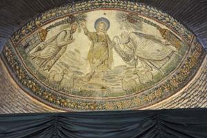 Christus, stans in monte Paradisi, novam legem, Euangelium scilicet, Petro et Paulo dat.