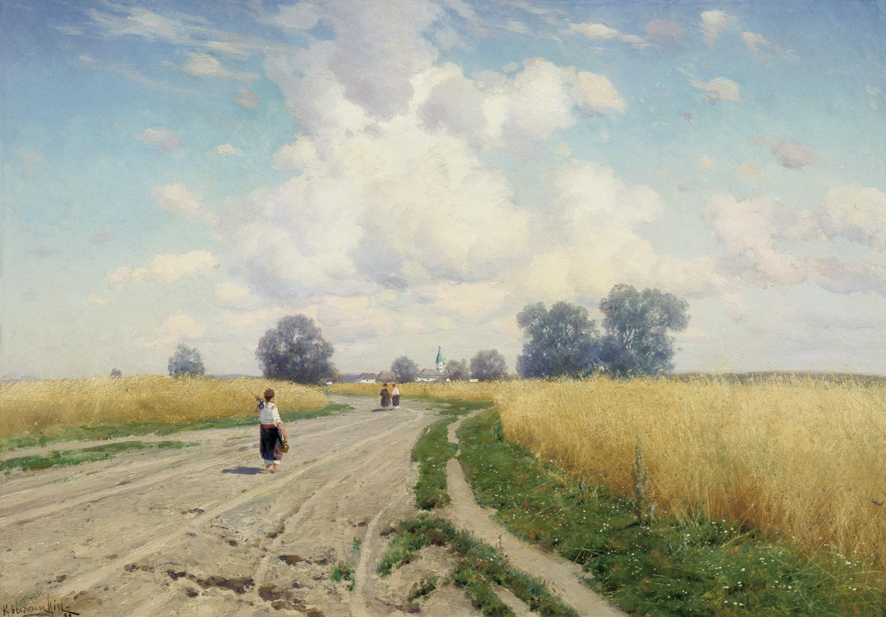 painting:   Doroga   (translated, The Road), by Konstantin Kryzhitsky, 1899.