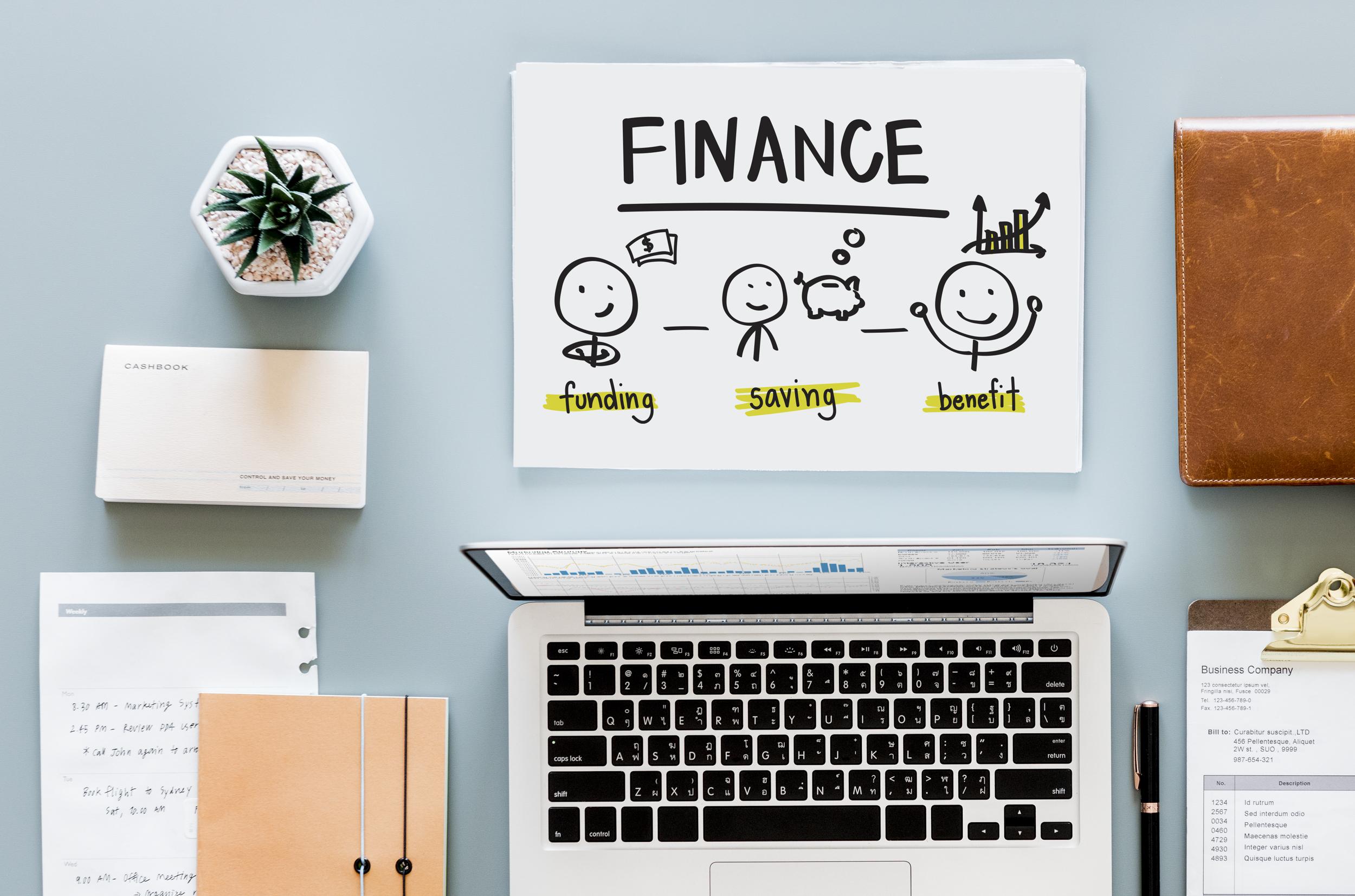 The three steps of finance: funding, savings, benefits.