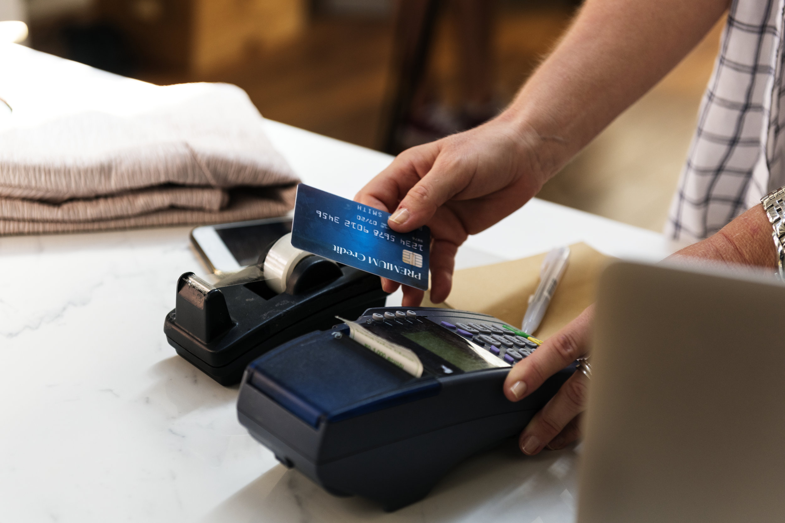 A credit card during a transaction.
