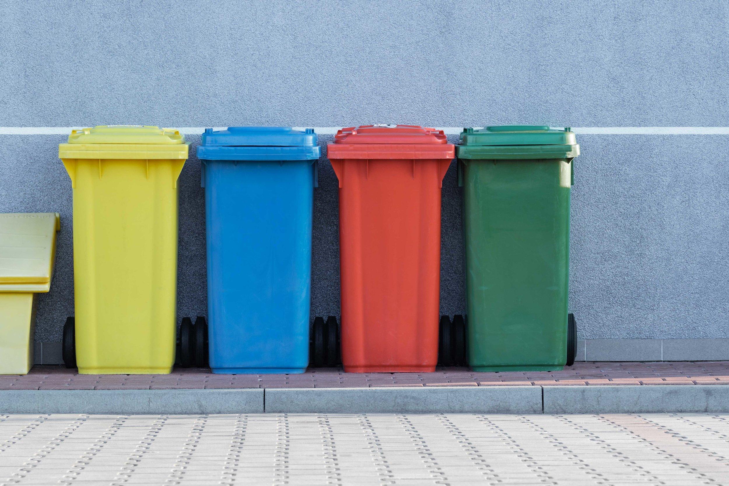 An assortment of trashcans.