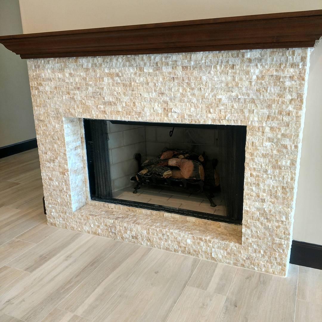 split face quartz fireplace