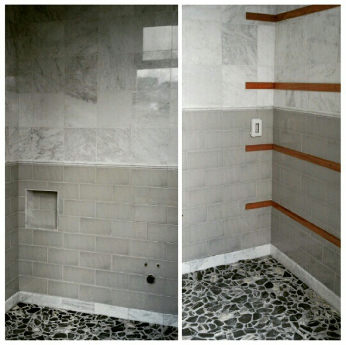 pool bath gray marble and ceramic teak insets