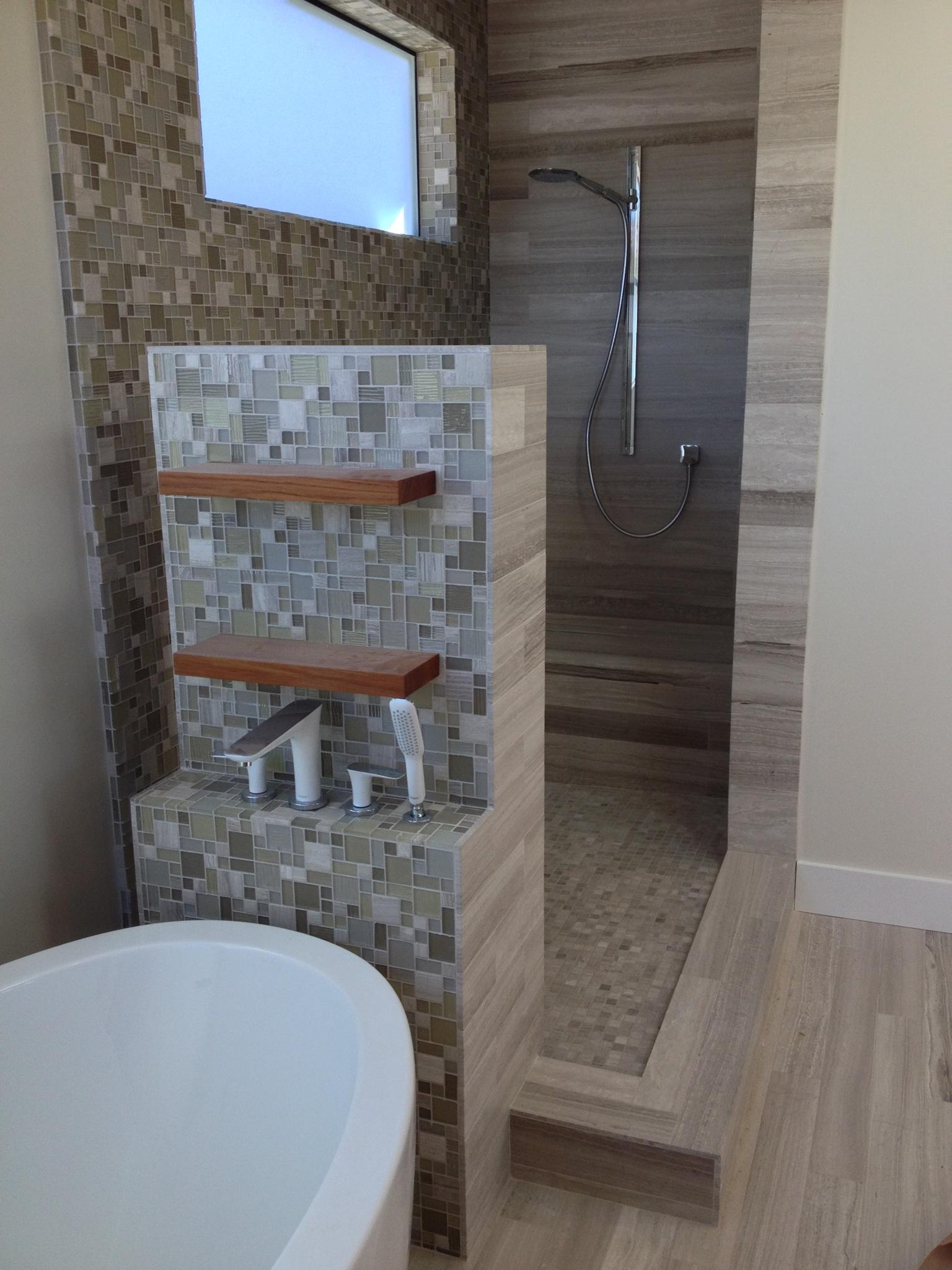 gray stone modern shower