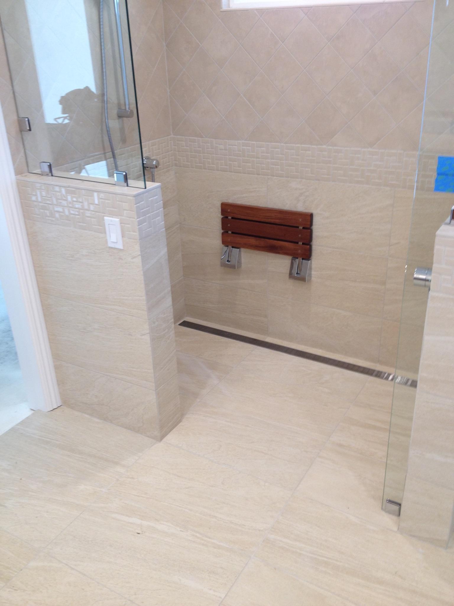 handicap shower linear drain teak bench