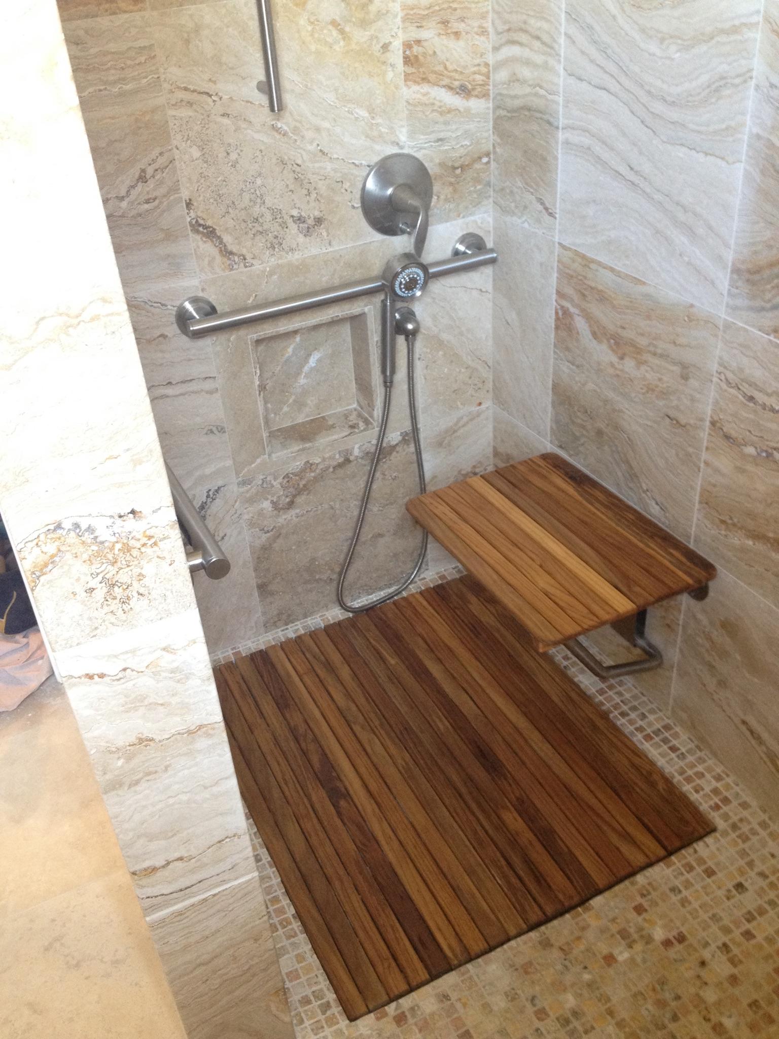 handicap shower teak drain grate and bench