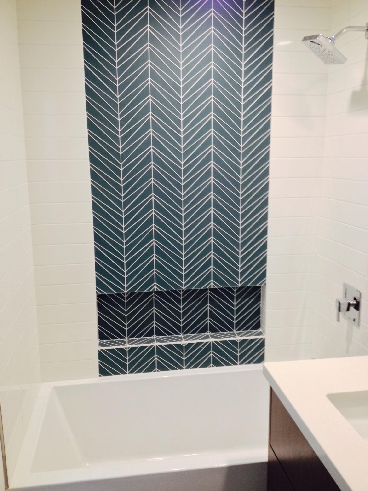 custom glass tile deco green and white shower