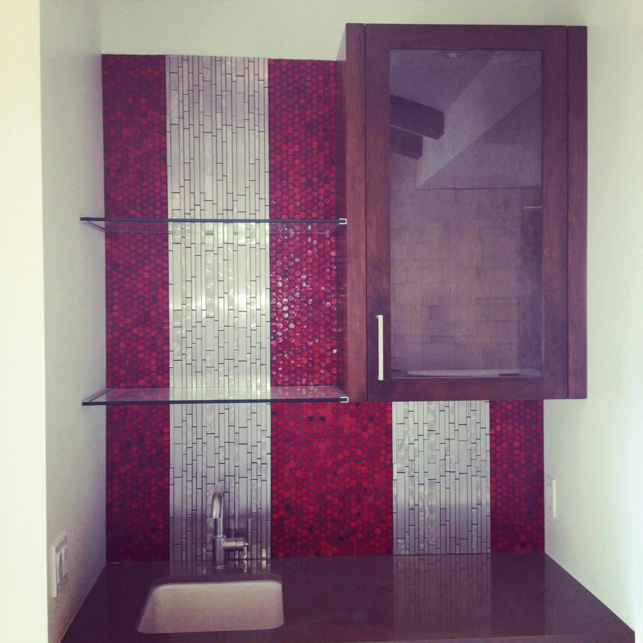 red glass tile aluminum tile  wet bar backsplash