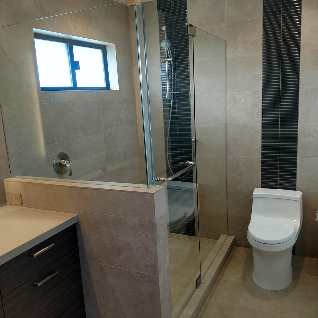 verticle glass tile stripes porcelain shower bathroom walls