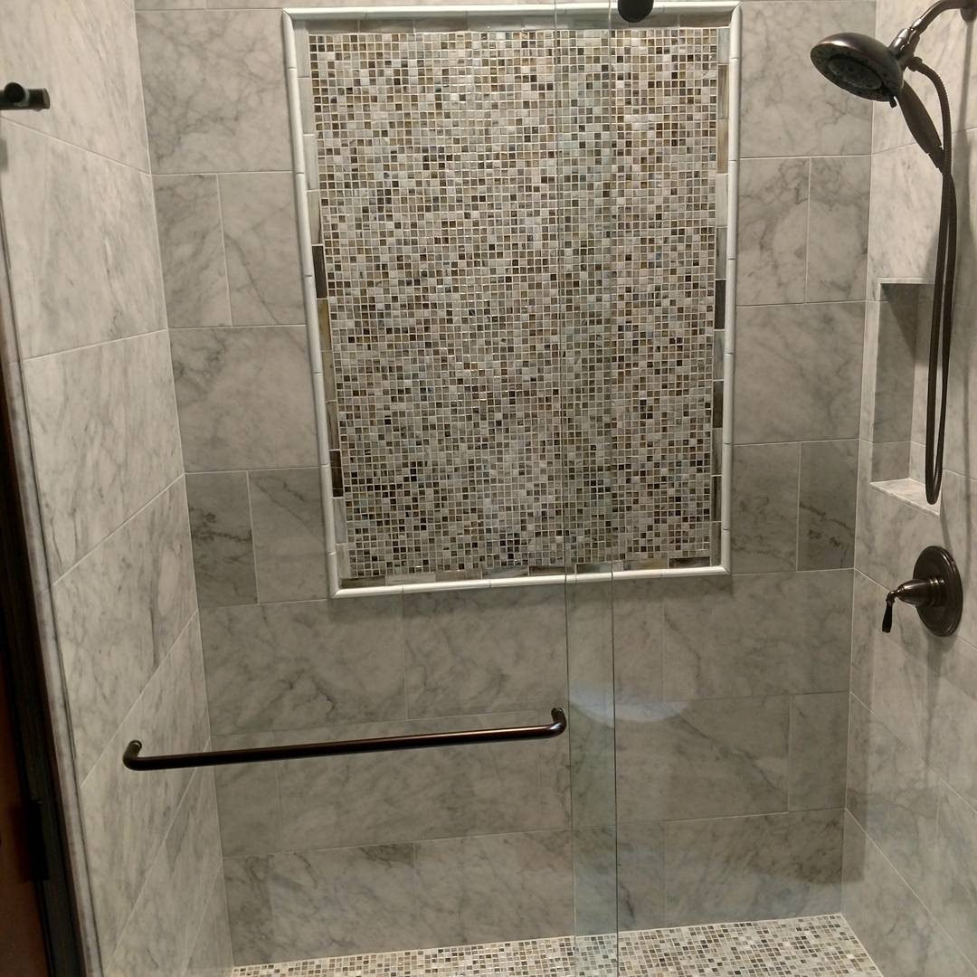 gray marble shower