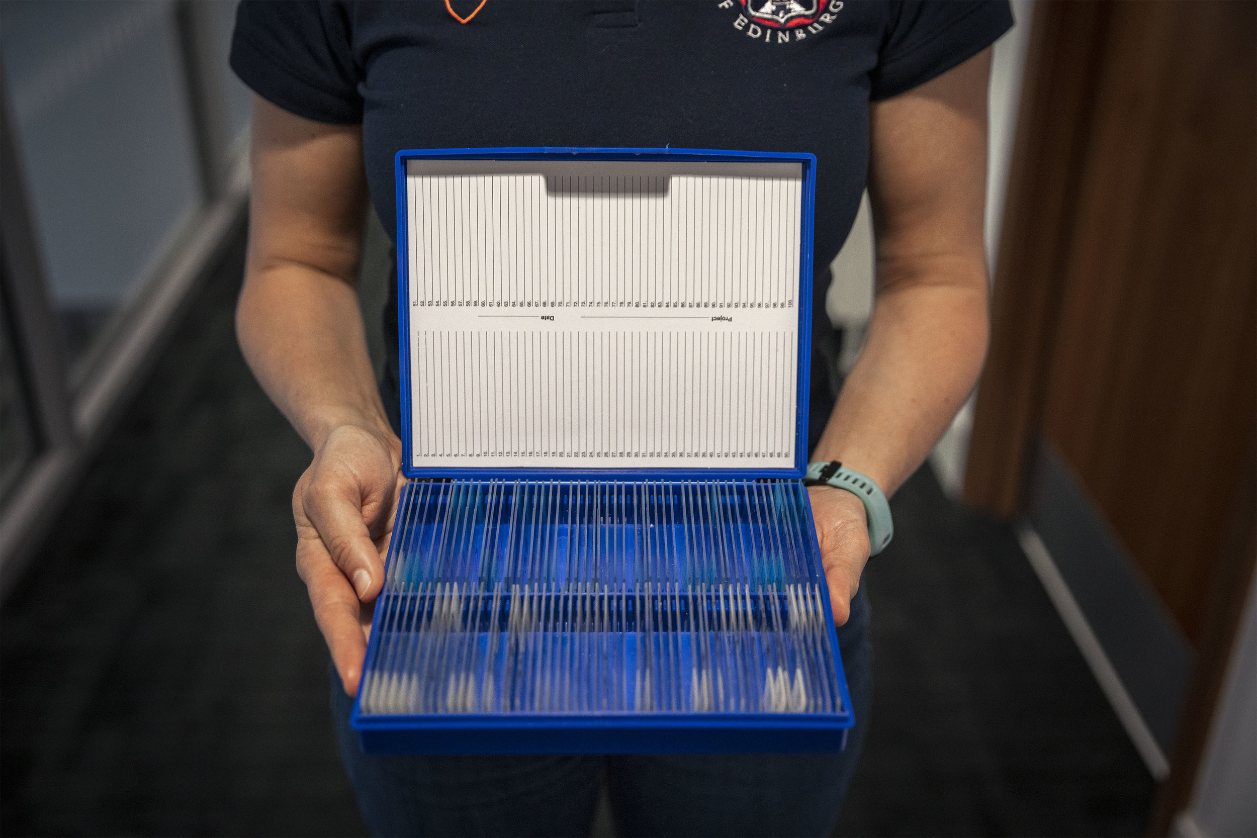 One of many boxes of slide samples