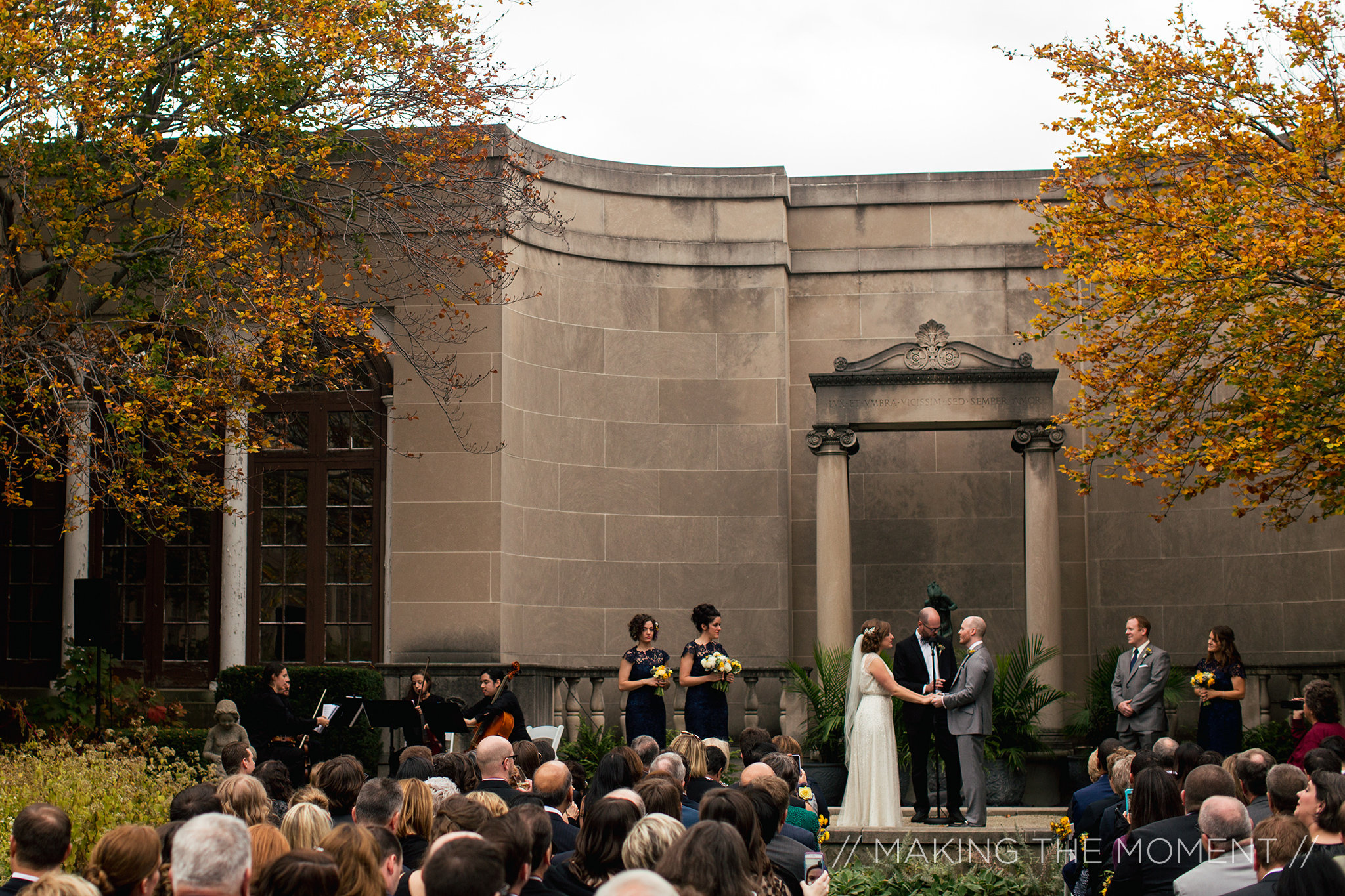 The Western Reserve Historical Society wedding ceremony in the Hanna Courtyard Garden