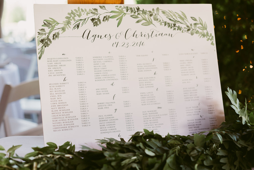Watercolor wedding seating chart
