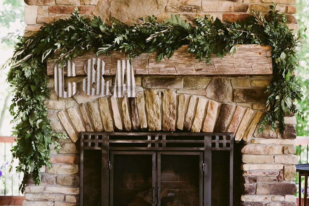Meadow Ridge Farm Wedding reception fireplace