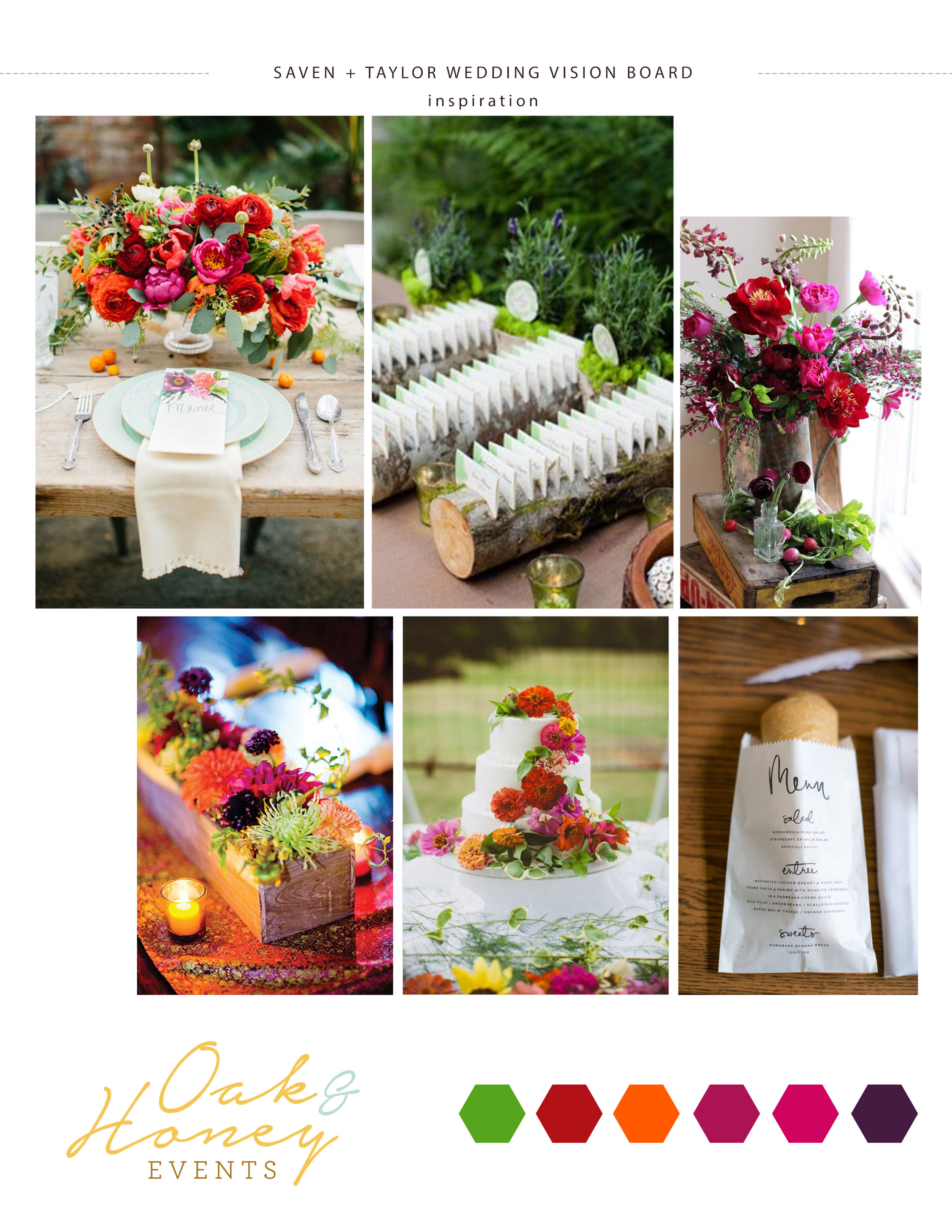 Colorful wedding vision board