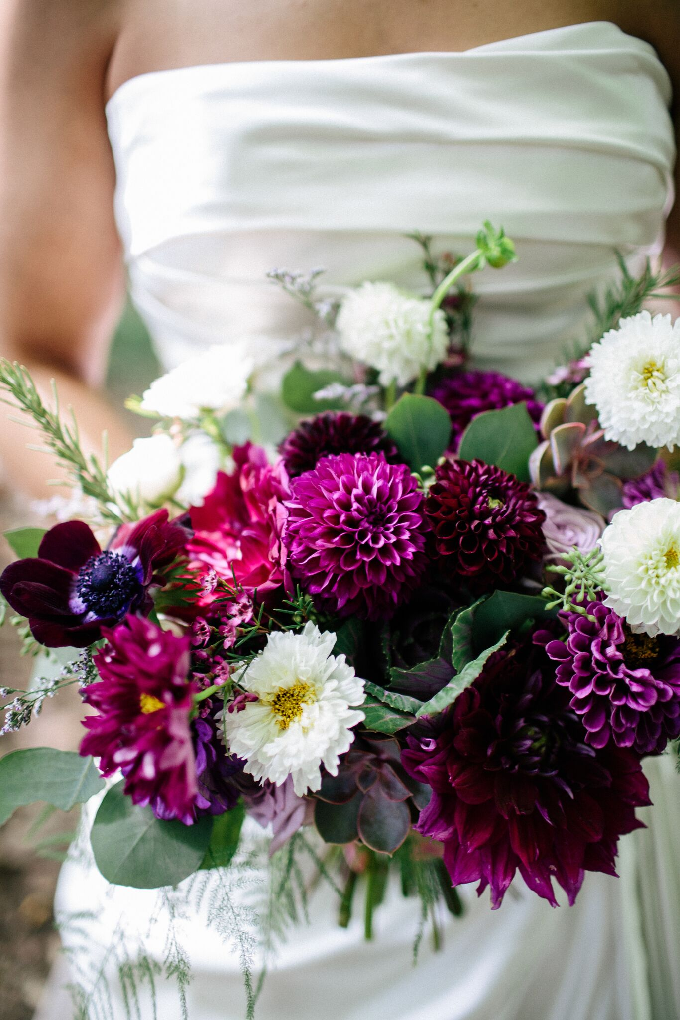 Dark purple wedding bouquet by Twig Florals Ohio