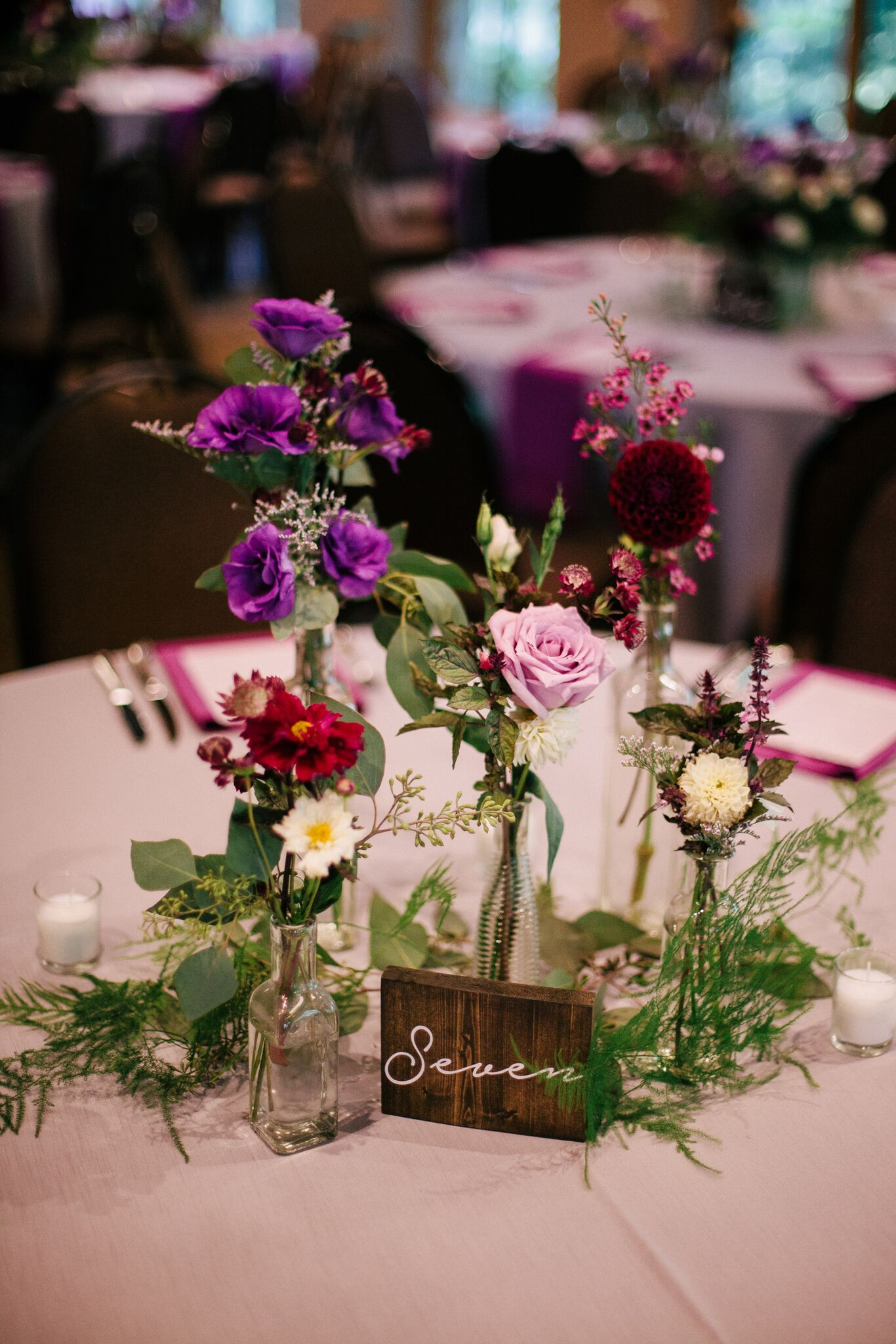Wedding reception centerpieces in jars