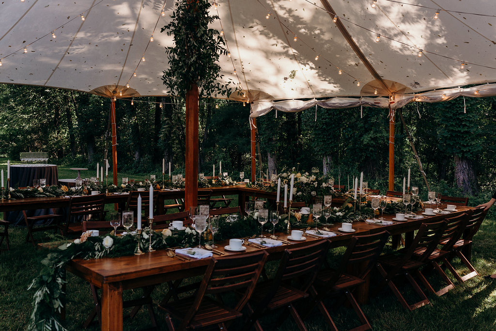 Oak and Honey Events Cleveland Wedding Planner Earthy and Organic Backyard Wedding Guest Table and Chairs.jpg.jpg